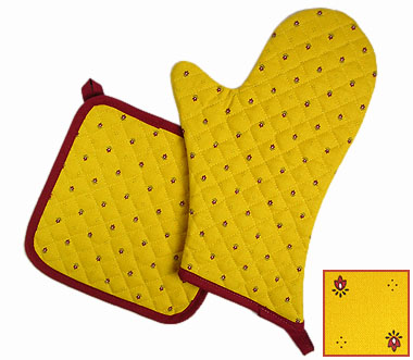 Oven Mitt & Square Pot Holder Set (Calissons. yellow x red)