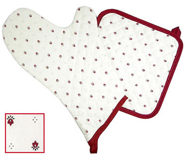 Oven Mitt & Square Pot Holder Set (Calisson. white x bordeaux)