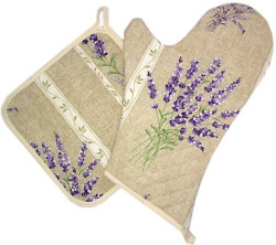 Oven Mitt & Square Pot Holder Set (lavender 2007. natural)