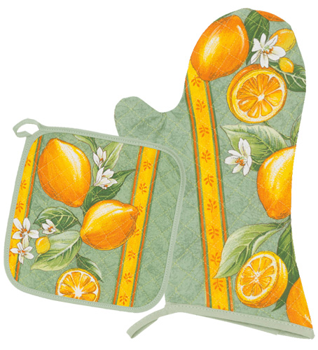 Oven Mitt & Square Pot Holder Set (lemons. green)