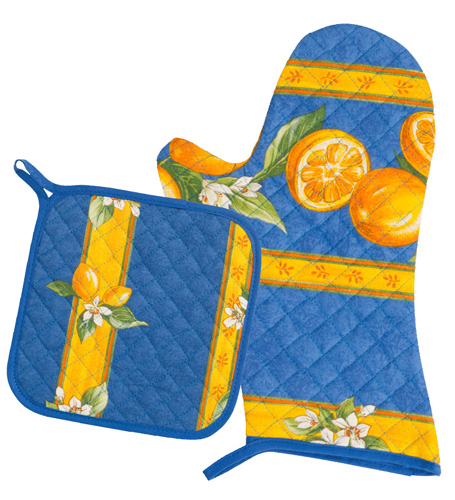 Oven Mitt & Square Pot Holder Set (lemons. blue)