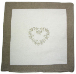 Linen cushion cover 45 x 45 cm (Linen DECO. white / natural)