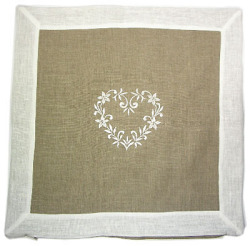 Linen cushion cover 45 x 45 cm (Linen DECO. natural / white)
