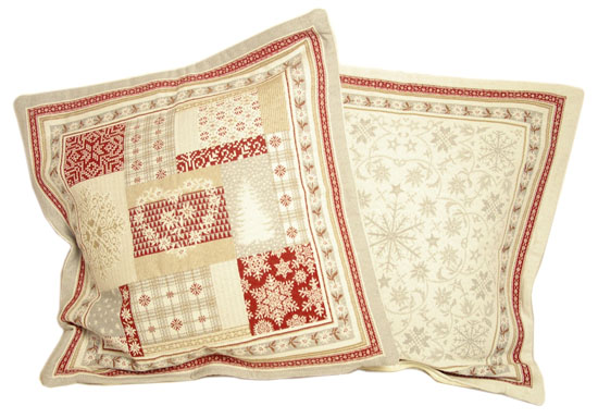 Jacquard cushion cover (Himalaya. grey-red)