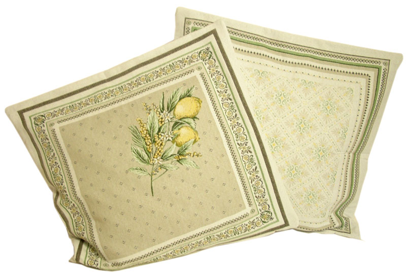 Jacquard cushion cover (Menton. yellow/green)