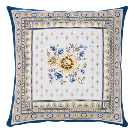 Jacquard cushion cover (MAZAN. raw blue )
