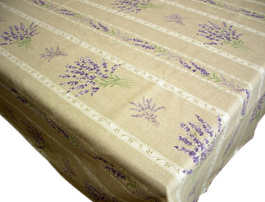 French coated tablecloth, linear (Lavender 2007. natural)