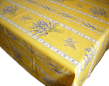 French coated tablecloth, linear (Lavender 2007. yellow)