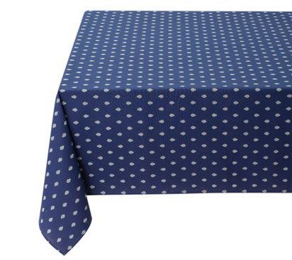 Coated tablecloth (Marat d'Avignon / bastide. marine blue)