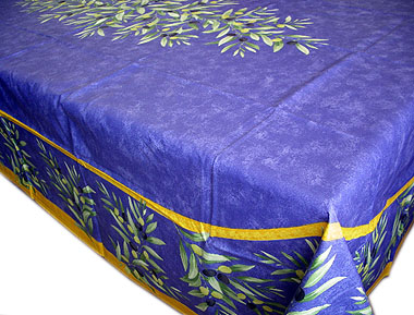 French coated tablecloth (olives. blue)