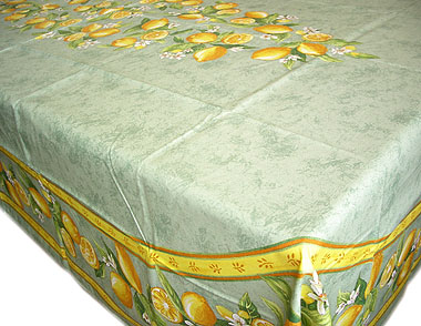 French coated tablecloth (Menton, lemons. green)