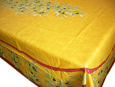 French coated tablecloth (olives. orange red)