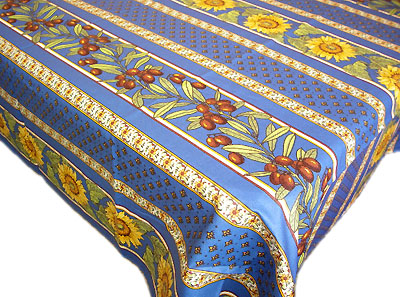 French coated tablecloth (Vallauris. blue)