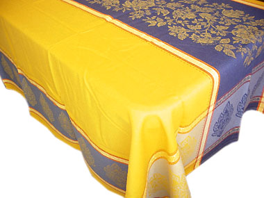 Jacquard tablecloth Teflon (Marat d'Avigno Caprice. Yellow/blue)