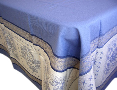 French Jacquard tablecloth, Teflon (Monogramme. blue)
