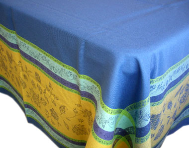Jacquard tablecloth Teflon (Marat d'Avignon Arles. blue/yellow)