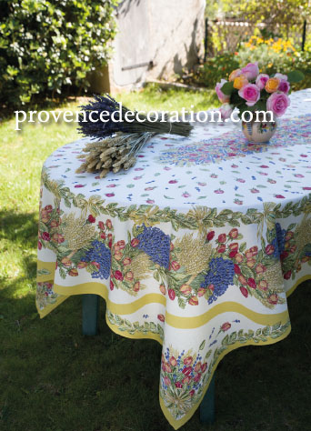 French coated tablecloth (Lavender & roses. raw)