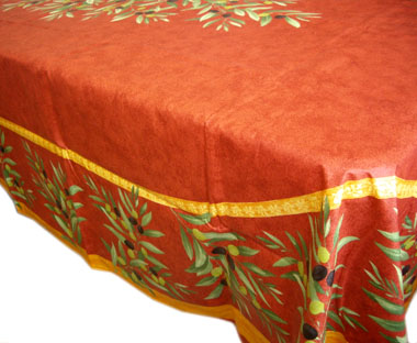 French coated tablecloth (olives. bordeaux)