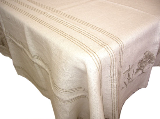 Linen Tablecloth with embroidery (RESTANQUE. ivory)