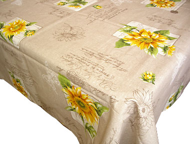 Coated tablecloth (sunflower. natural)