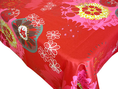 Coated tablecloth (Mandala. red)