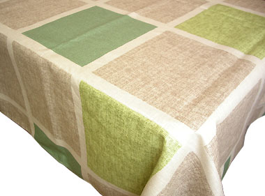 Coated Linen Tablecloth (Damiers. natural green)