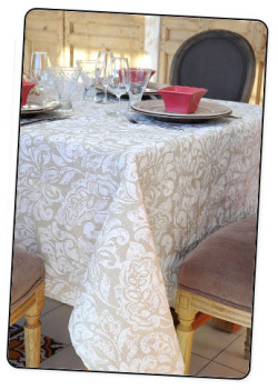 Coated Linen Tablecloth (Roccoco. natural mat white)