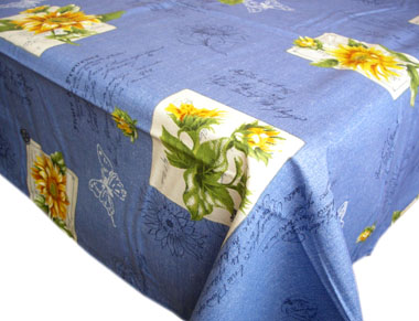 Coated tablecloth (sunflower. blue)