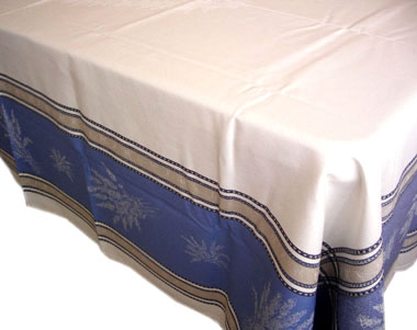 French Jacquard tablecloth, Teflon (Senanques. Raw-Blue)