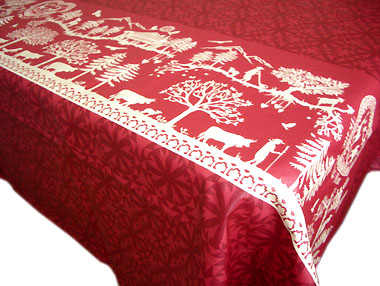 French coated tablecloth (Home Sweet Home, red)