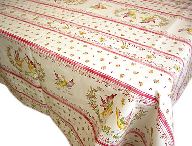 French coated tablecloth (Moustiers2014. white x rose)