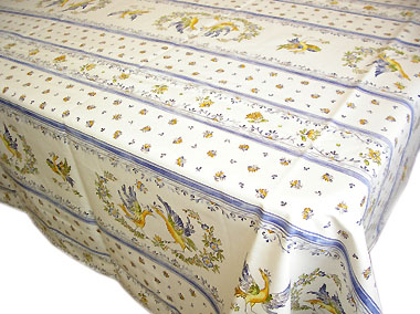French coated tablecloth (Moustiers2014. white x blue)