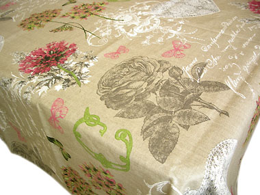 Coated Linen Tablecloth (Clarissa. rose)