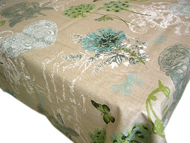 Coated Linen Tablecloth (Clarissa. blue)