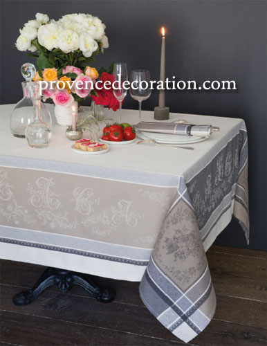 French Jacquard tablecloth, Teflon (Romantique. 2 colors)
