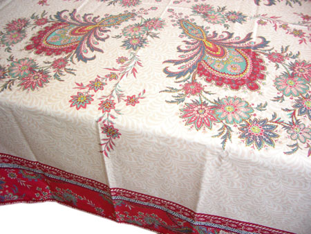French coated tablecloth (VALDROME / Haveli. framboise)