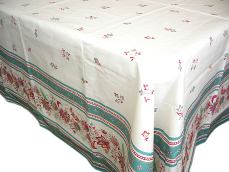 French coated tablecloth (Luberon. water green)