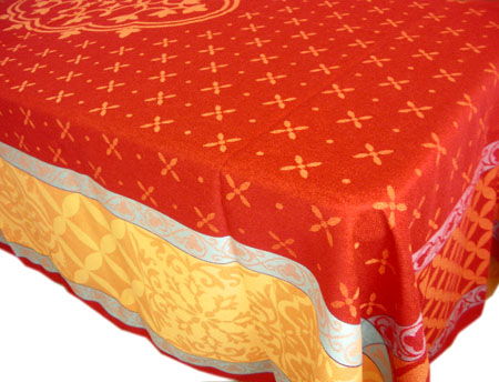 Jacquard tablecloth Teflon (Reillanne. red)