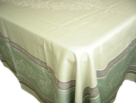 French Jacquard tablecloth, Teflon (Olivia. green)