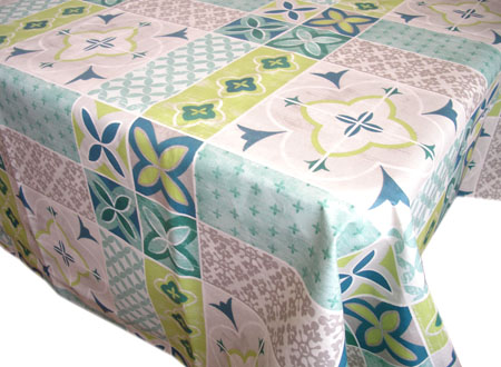French coated tablecloth (Ciment. water green)