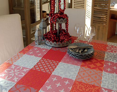 Jacquard tablecloth Teflon (Carces. grey-red)