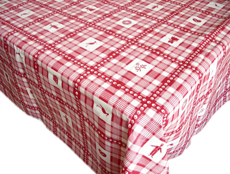 French coated tablecloth (Alsace, red)