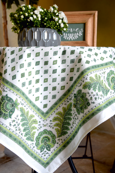 French coated tablecloth (Mirabeau. raw/green)