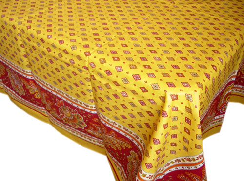 French coated tablecloth (Mirabeau. yellow/red)