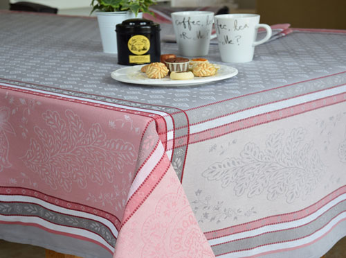 Jacquard tablecloth Teflon (Beaulieu. grey/rose)