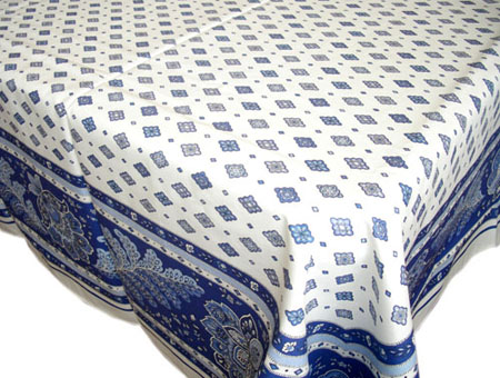 French coated tablecloth (Mirabeau. raw/blue)