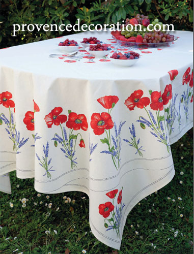French coated tablecloth (Coquelicots Lavandes 3 colors)