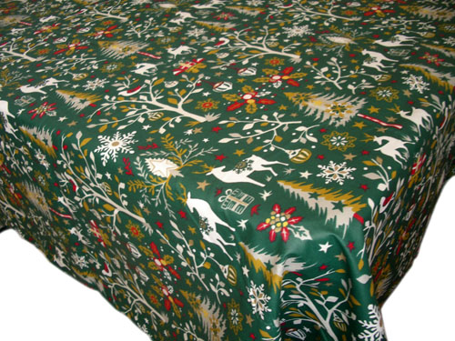 French coated tablecloth (Laponie, green)