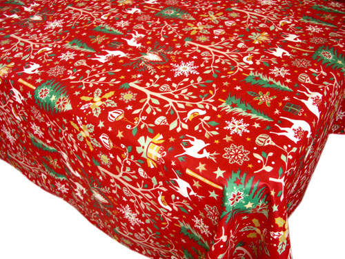 French coated tablecloth (Laponie, red)