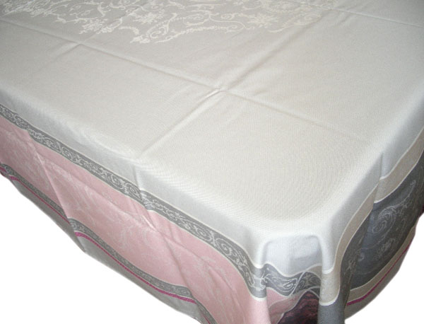 French Jacquard tablecloth, Teflon (Versailles. grey/rose)
